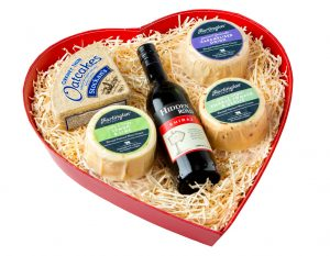 Large Heart of Hartington Pebbles, Wine and Biscuits