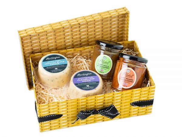 Hartington Best Sellers Cheese Pebbles & Pikehall Chutney - Faux Hamper