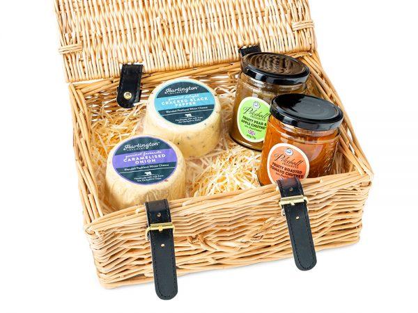 Hartington Best Sellers Cheese Pebbles & Pikehall Chutney - Wicker Hamper